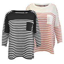 NEW EX NEXT Striped Jersey Top with Patch Pocket in Pink/Cream or Black/White