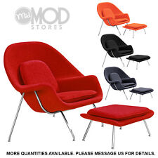 Womb Shaped Chair and Ottoman Wool Cashmere Modern Mid Century Lounge Chair