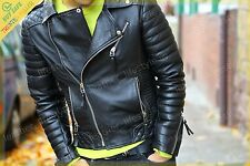 Mens Genuine Lambskin Leather Jacket Black Slimfit Biker Motorcycle jacket UK110