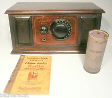 "vIntage * 1925 MONTGOMERY WARD ""AIRLINE"" 1 TUBE RADIO w/ BATTERY & BOOKLET"