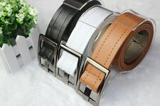 Fashion mens womens New Faux Leather edge Sewing thread buckle belt hc