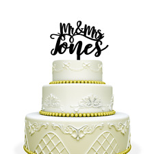 Mr. Mrs. Wedding Cake Topper - Personalized Custom Cake Topper with Last Name