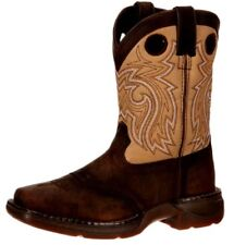 """Durango Western Boots Boys 8"""" Saddle Leather Square Toe Brown DBT0117"""