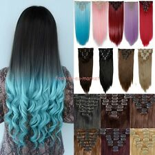 Long 8PCS Clip in Hair Extensions Thick 170-210g Cosplay Color PINK PURPLE BLUE