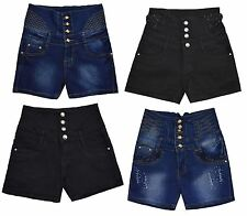 Ladies Womens Hotpants High Waisted Distressed Ripped Pants Denim Shorts