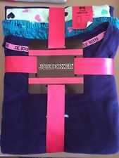 NEW Joe Boxer Womens Pajamas Jersey 3 Piece Set S M 1x Blue Sleep Hearts PJs
