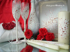 Red Wedding Personalized Mr Mrs Bride Groom Champagne Glasses Flutes UnityCandle