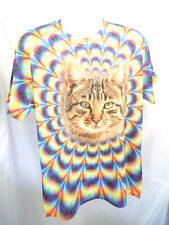 Psychedelic Tabby Cat Shirt  (L 2XL) T-shirt Fun LOL Tie Dye Look New 9254