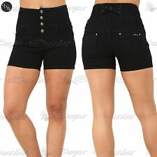 Womens Ladies Front 4 Button Zip Back Hip Bow Pockets Hotpants Denim Jean Shorts