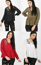 Ladies Womens Floral Embroidered Chiffon V Neck Long Sleeve Top Gypsy Dress