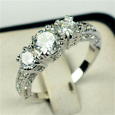 Size 6-9 White Sapphire Silver Wedding Ring 10KT White Gold Filled Jewelry New H