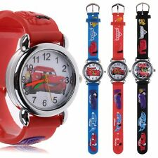 Cartoon 3D Cars Child Kids Boys Girls Analog Quartz Wrist Watch Rubber Gift Toy