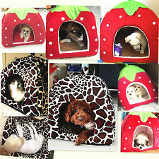 Dog House Foldable Soft Warm Leopard Print Strawberry Cave Dog Bed Pet Kennel