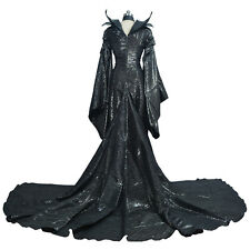 Cosplay Party Stage Black Long Lady Fancy Dress for Maleficent Costume NEW