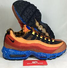10.5 NEW  Nike Air Max 95 Premium Running Shoes Red Brown Blue Black 538416-600