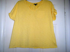 Tommy Hilfiger Womens Yellow Short Sleeve Top Blouse Plus Sz 2X