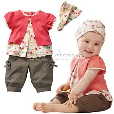 New 3Pcs Toddler Baby Infant Girls Outfits Headband Tops Pants Kids Clothes Set