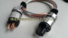 ITEM008 US AC Power Cable  Plug Hifi Acoustic OCC Copper Silver Plated