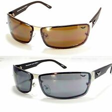Men's Sunglasses Sports Wrap Rimless Driving Curved Rectangle Black Brown