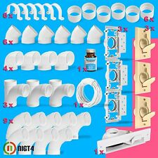New Central Vacuum Almond 3-Inlet Installation Kit and White Vacpan