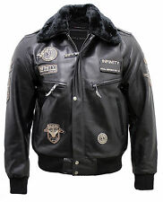 Men's Black Leather US Air Force Flying Bomber Jacket with Detachable Collar