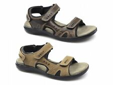 JEFFREY Mens Triple Touch Fasten Summer Casual Soft Leather Suede Sport Sandals