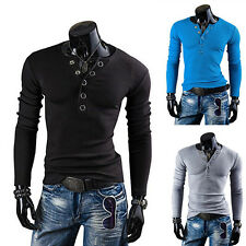 New Mens Casual Shirts Slim Fit Long Sleeve V- Neck Button Henley Tops T Shirt