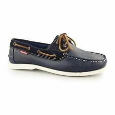 Chatham GALLEY Mens Leather Lace Up Casual Comfort Deck Boat Shoes Navy Blue