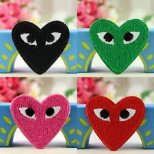 Heart Embroidered Patches Bag Badge Fabric Applique Craft Iron On / Sew On Patch