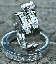 His Hers Sterling Silver 14k White Gold Diamond Wedding Ring Matching Band Set