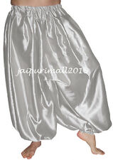 Silver Belly Dancing Satin Harem Pants Yoga Genie Aladdin Harem Trouser Pants