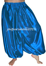 Depp Pnk Belly Dancing Satin Harem Pants Yoga Genie Aladdin Harem Trouser Pants