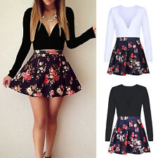 Sexy Ladies Summer Deep V-neck Floral Evening Party Cocktail Short Mini Dress