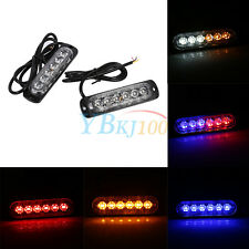 2Pcs 12/24V 6 LED Car Truck Emergency Warning Strobe Light Hazard Flashing Lamp