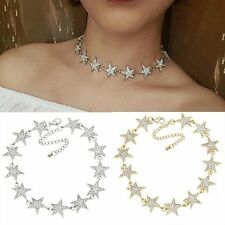 Gold/Silver Plated Star Crystal Rhinestone Choker Collar Necklace Clavicle Chain