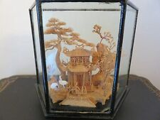 Detailed Vintage Oriental Hand Carved Cork In Black Lacquered Wood Glass Case