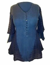 NEW Pretty Blue Broderie Anglais Embroidered Tunic Blouse