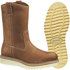 """Wolverine Work Boots Mens 10"""" Wellington Pull-On Brown Leather Boot W08285"""