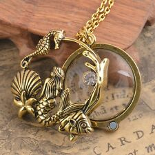 Sea Mermaid Magnifying magnifier glass pendant necklace antique Jewel Free Chain
