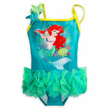 THE LITTLE MERMAID PRINCESS ARIEL SWIMSUIT GIRLS 1PC DISNEY STORE SZ 3-9/10 NEW