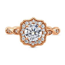 BERRICLE Rose Gold Plated Sterling Silver CZ Art Deco Milgrain Ring