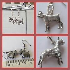 Dogs, playful boxer dog, Aussie or Us made pewter breed charms earrings