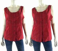 NEW Womens Red Fashionable Stretch Lace-Inset Empire Sleeveless Blouse Top CHOP