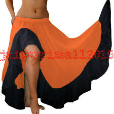 Coral Chiffon Ruffle Slit Gypsy Skirts Full Circle Belly Dance Tiered Flamenco