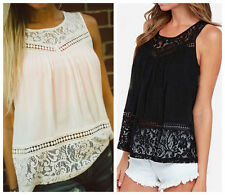 Stylish Womens Summer Lace Vest Top Sleeveless Blouses Casual Tank Tops T-Shirts