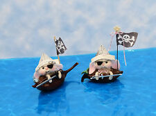 """Needle Felted """"Pirate Bunnies"""" - Boy or Girl - In Their Pod Boats"""