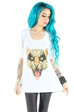 Iron Fist Here Kitty White Leopard Open Back Drape Tee Size S