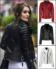 Women's Slim Fit Biker Diamond Quilted Kay Michaels Leather Jacket - In 3 Colors