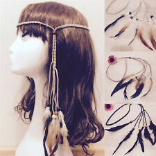 Hippie Indian Feather Headband Handmade Weave Feathers Hair Rope Headdress GN