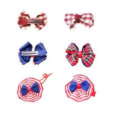 4pcs Kids Girls Ribbon Bow Bowknot Hair Clip Barrette Elastic Hairband Hair Ties